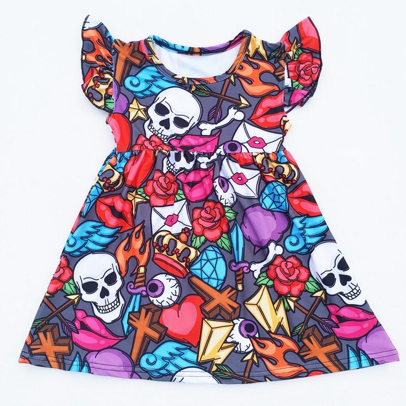 2018 Baby Girls Halloween Skull Bone Dress Halloween Short Sleeve Dress Halloween Milk Silk Dress For Party 2018 baby girls halloween skull bone dress halloween short sleeve dress halloween milk silk dress for party