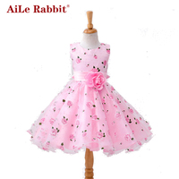AiLe Rabbit Retail Flower Dress In Sashes For Wedding Party Girls Floral Print Dress First Communion