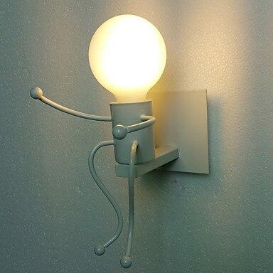 Us 28 56 Black Little Boy Modern Led Wall Lamp For Living Dinning Room Edison Light Fixtures Wrought Iron Arandela In Lamps From Lights