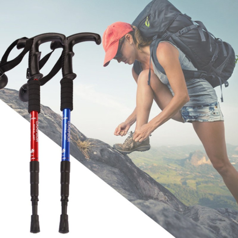 2 Pieces / 4 Section Shockproof Nordic Walking Pole Adjustable Handle Cane Ultra Light Walking Stick With Protective Rubber Tip