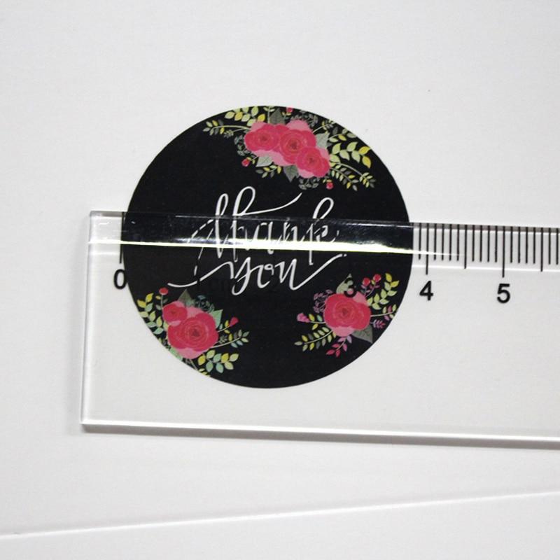 Купить с кэшбэком 120pcs/lot New Black Flower Thank You Adhesive Kraft Seal Sticker for Baking Round Gift Label Stickers