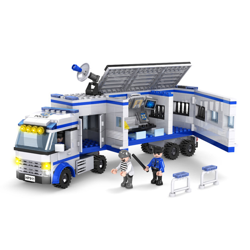 424pcs Police Command Car Blocks Toys for Boys Enlighten Building Blocks Truck Education Gift Children Figure Bricks K0387-13914 kazi police command center motorcycle building blocks bricks assemblage education toys model brinquedos gift for children 6728