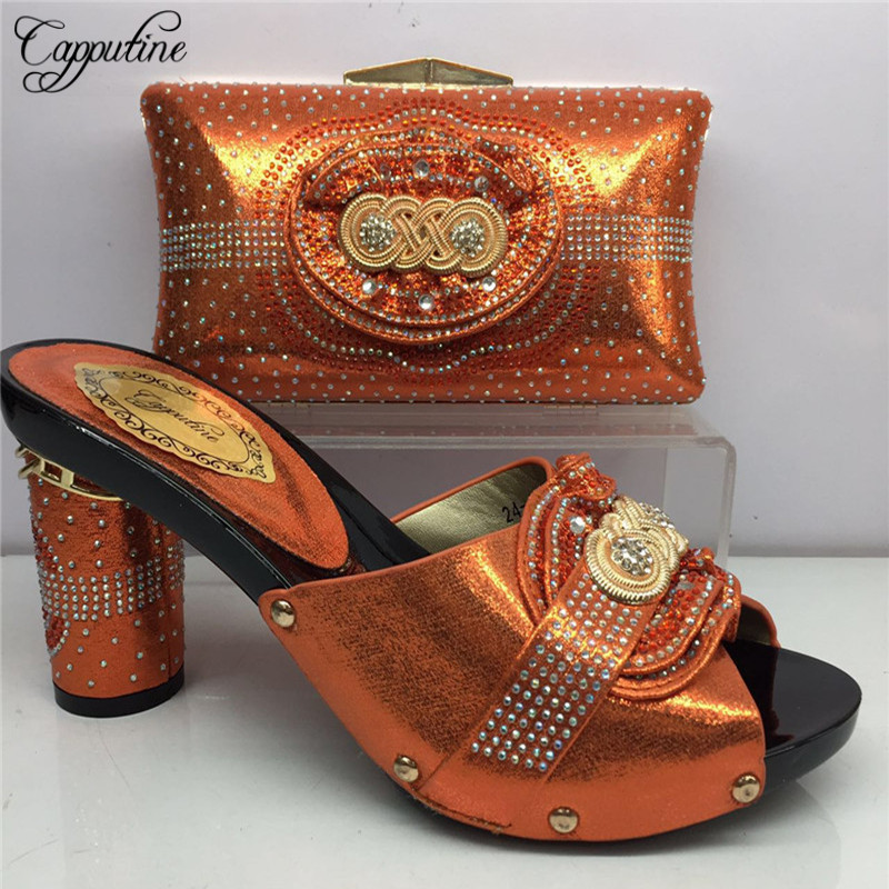 Newest Africa Shinning PU With Stone Shoes And Bag Set Nigeria Summer Woman Heels Shoes And