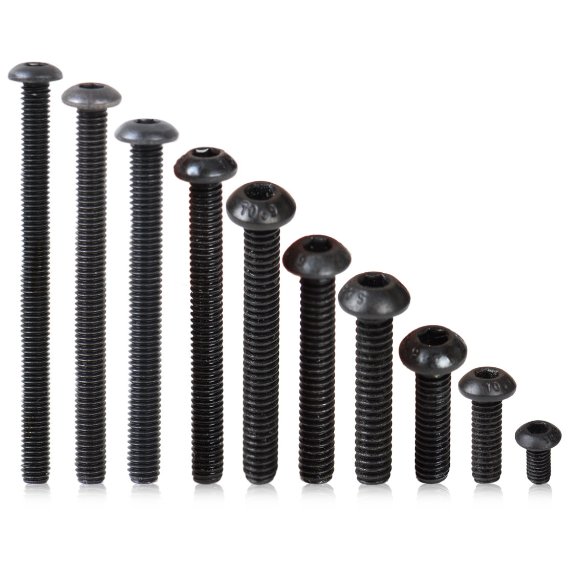 100pcs Metric M4 Black 10.9 Carbon Steel Flat Countersunk Head Hex Socket Screw