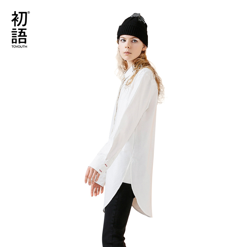 Toyouth Blouses 2017 Autumn Women Embroidery White Color Oversized Cotton Long Sleeve Ladies Casual Shirts