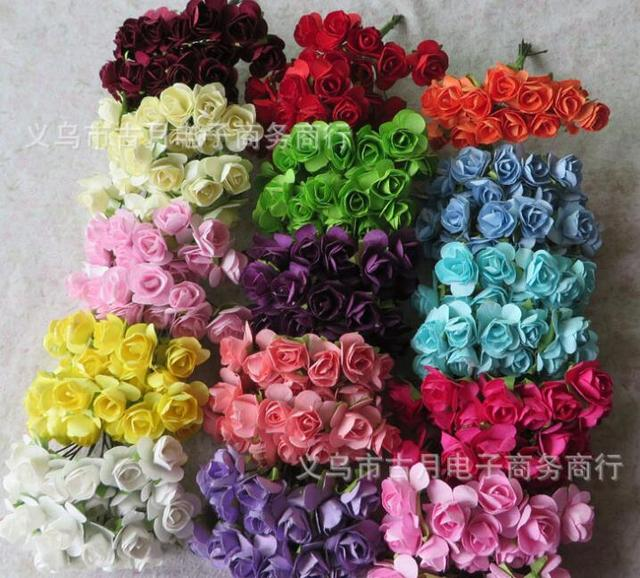 1.5CM artificial mini paper roses bouquet,tissue paper flowers for ...