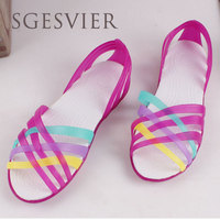 SGESVIER Women Sandals 2017 Summer New Candy Color Peep Toe Beach Valentine Rainbow Croc Jelly Shoes