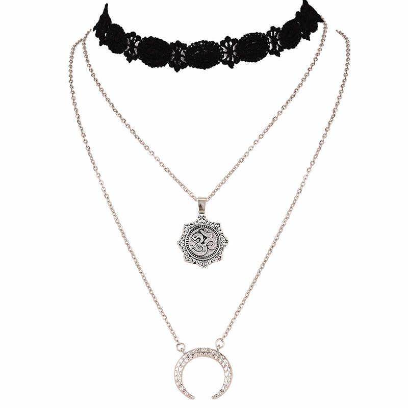 New Fashion Black rope multi-layer necklace Pentagram Tassel Pendant Bohemian lace neck chain multi-layer moon pendant female