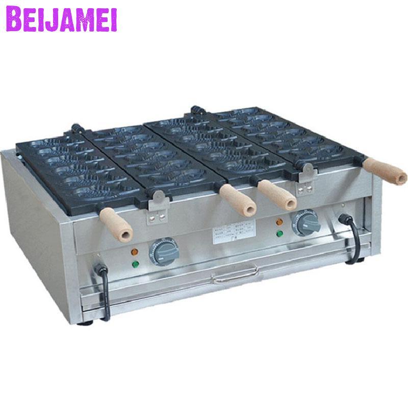 Ev Aletleri'ten Waffle Makineleri'de BEIJAMEI Yüksek Verimli Ticari Elektrikli Çift Plaka 12 Balık Balık Şeklinde Taiyaki Waffle Makinesi Yapma Makinesi Fiyat title=
