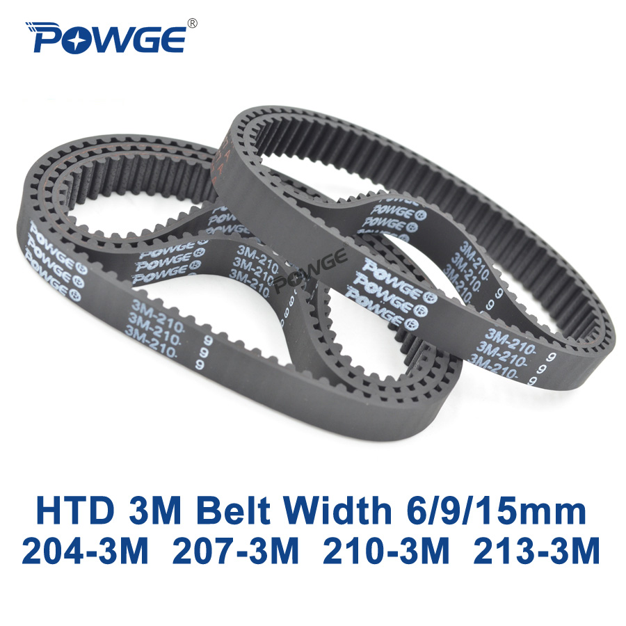 POWGE Arc HTD 3M Timing belt C= 204 207 210 213 width 6/9/15mm Teeth 68 69 70 71 HTD3M synchronous 204-3M 207-3M 210-3M 213-3MPOWGE Arc HTD 3M Timing belt C= 204 207 210 213 width 6/9/15mm Teeth 68 69 70 71 HTD3M synchronous 204-3M 207-3M 210-3M 213-3M