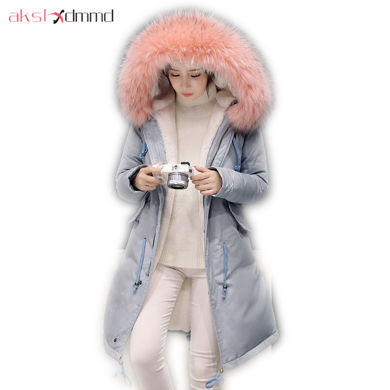 AKSLXDMMD Parkas Mujer Thick Warm Overcoat 2017 New Women Jacket Winter Fashion Fur Collar Hooded Long Coats Female LH1092 2017 new winter warm hooded long women s coats thick cotton jacket women embroidery letter vintage overcoat parkas abrigos mujer
