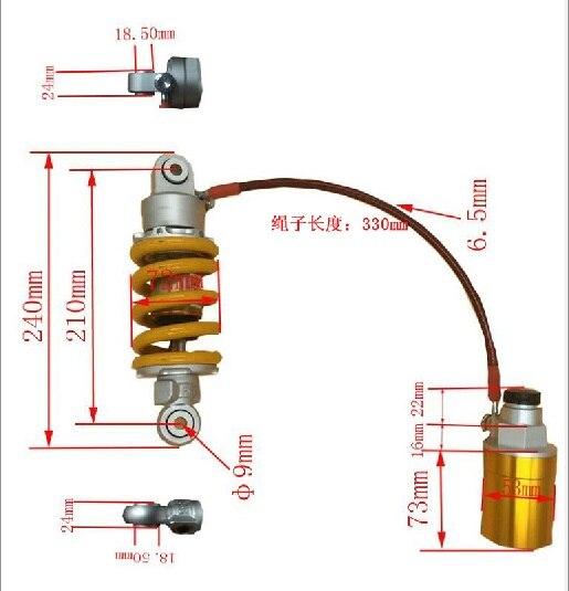 210 мм воздуха амортизаторы для YAMAHA Универсальный мотоцикл Кавасаки Картинг квадроцикл DiRT спортбайков LC150 lc135 корпуса EXCITER150