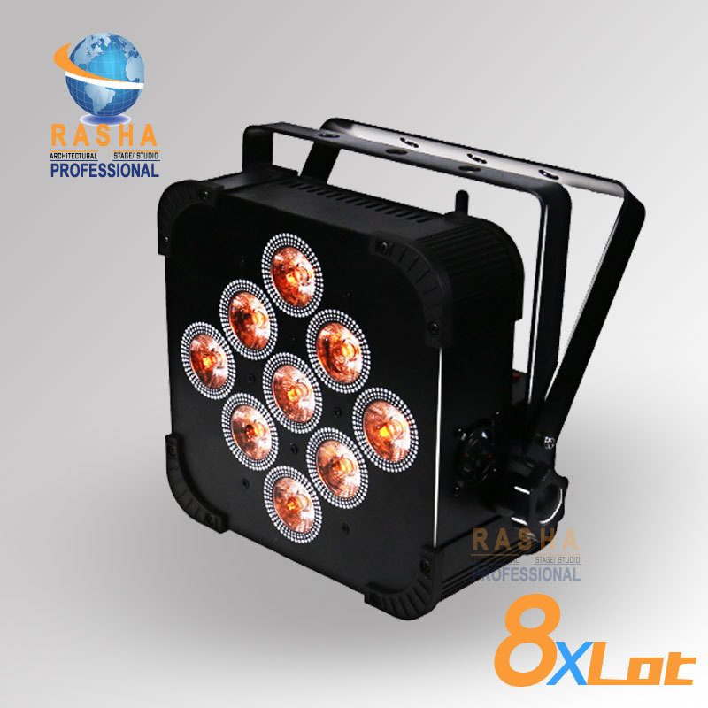 8X Lot Rasha Quad 4in1 RGBW/RGBA 9pcs*10W Non Wireless LED Flat Par Can Light LED Par Light,RASHA Par can 110-240V Stage Light rasha quad factory price 12 10w rgba rgbw 4in1 non wireless led flat par can disco led par light for stage event party