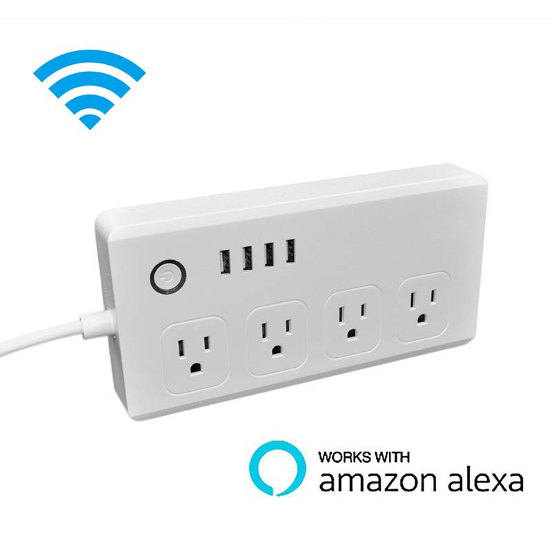 Work with Amazon Echo Alexa WiFi Smart Power Strip Surge Protector 4 Socket Outlet Plug Smart socket Home Strip for Home цены