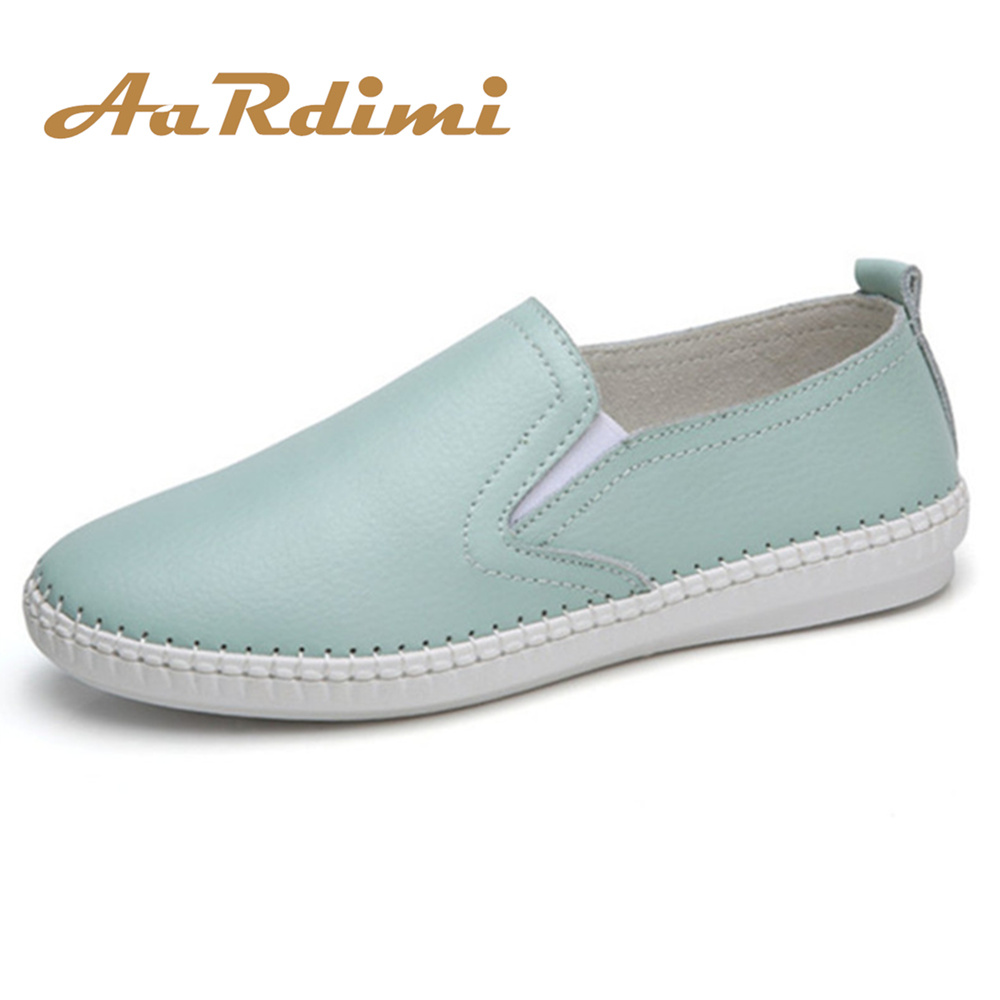 AARDIMI Cut-Outs Women's Loafers Casual Shoes Woman Spring Summer Shallow Slip On Genuine   Leather   Women's Shoes Espadrilles
