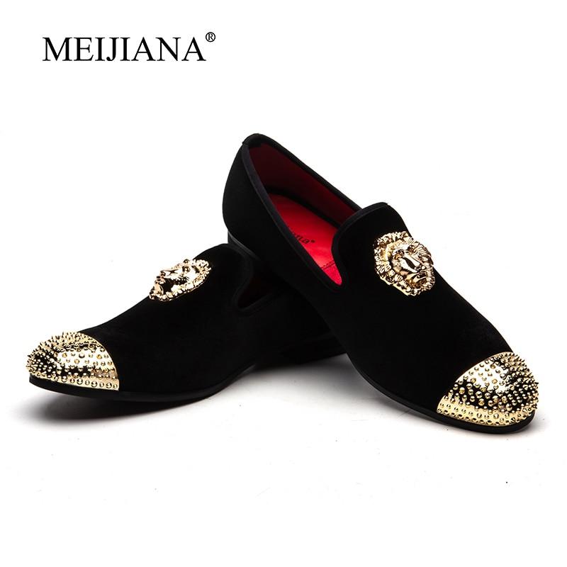 الرجال نمط MeiJiaNa 2019 الذهب مشبك غطاء الرجال الأسود المخملية حذاء كاجوال أحذية الحفلات جديد النعال حذاء مسطح-في أحذية رجالية غير رسمية من أحذية على  مجموعة 1