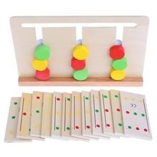 Dřevěný Montessori senzorický materiál Barva třídění hra Vzdělávací hračka pro děti