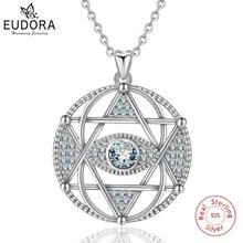 EUDORA 925 Sterling Silver Star di David & Evil eye Pendente Della Collana di Modo Esagramma Sereno CZ Dei Monili per le Donne del Regalo CYD320