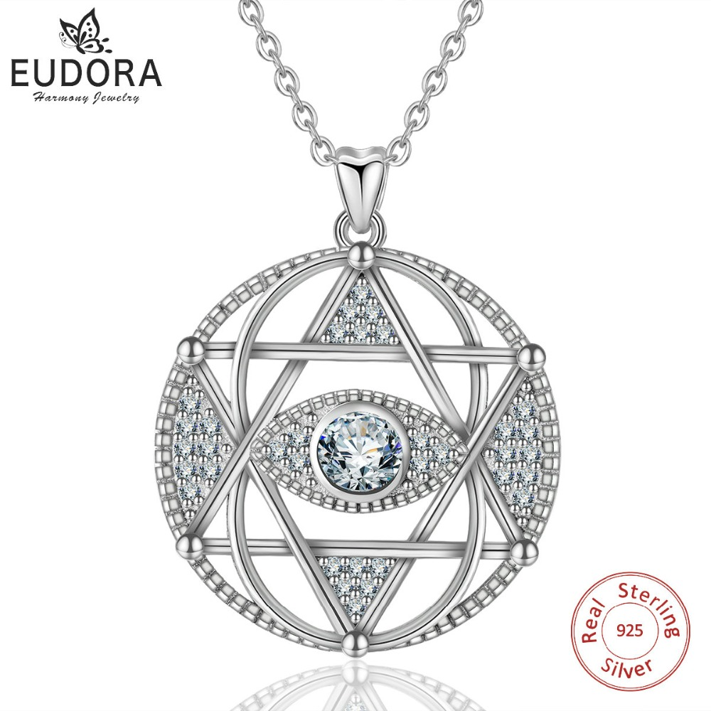 EUDORA 925 Sterling Silver Star of David & Evil eye Pendant Necklace Fashion Hexagram Clear CZ Jewelry for Women Gift CYD320 blue cz evil eye disco charm cz cross dainty silver chain girl women evil eye jewelry 925 sterling silver lucky eye necklace