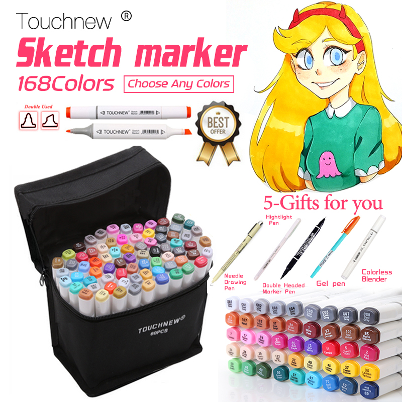 TOUCHNEW 30/40/60/80/168 couleurs croquis marqueurs stylo à base d'alcool pinceau marqueur Set meilleur pour dessin Manga Animation Art fournitures