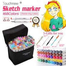 TOUCHNEW Conjunto de rotuladores de dibujo a base de Alcohol, 30/40/60/80/168 colores, para dibujo de Manga, arte de animación