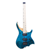 New Arrival 24 Frets Electric Guitar Blue ASH Wood Solid Flame Maple Neck Fingerboard