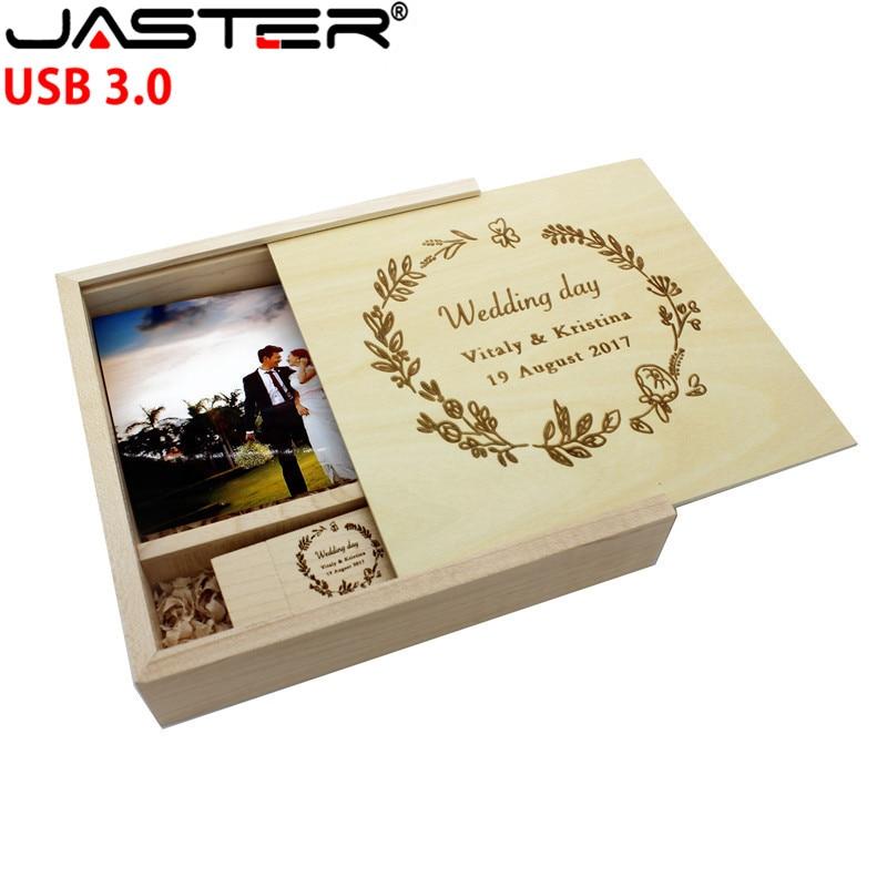 JASTER Maple Photo Album Wood Usb+Box Memory Stick USB 3.0 4GB 8GB 16GB 32GB 64GB Photography Gift Custom LOGO (170*170*35 Mm)