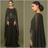 Элегантное Черное мусульманское платье для матери невесты с накидкой, длинное шифоновое платье с аппликацией, длиной до пола, свадебное пла