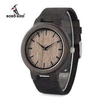 BOBO BIRD Ebony Watch Men Wooden Quartz Watch Leather Straps Wristwatches Men's Great Gift relogio masculino Drop Shipping Network Switches