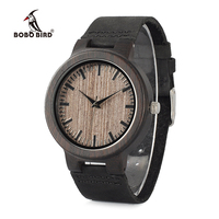 BOBO BIRD WC26 Ebony Wooden Watch For Men Gray Wood Dial Face Leather Straps Quartz Watches