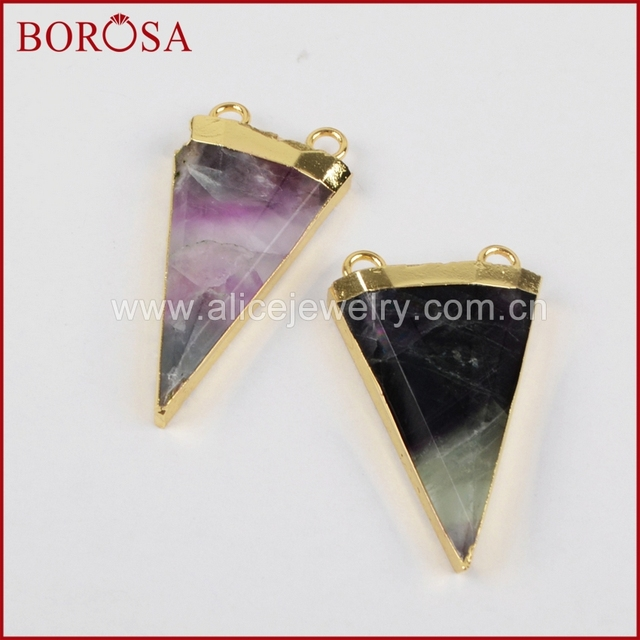 Borosa 5pcslot gold rainbow fluorite pendants faceted stone borosa 5pcslot gold rainbow fluorite pendants faceted stone triangle pendant natural fluorite pendant women aloadofball Images