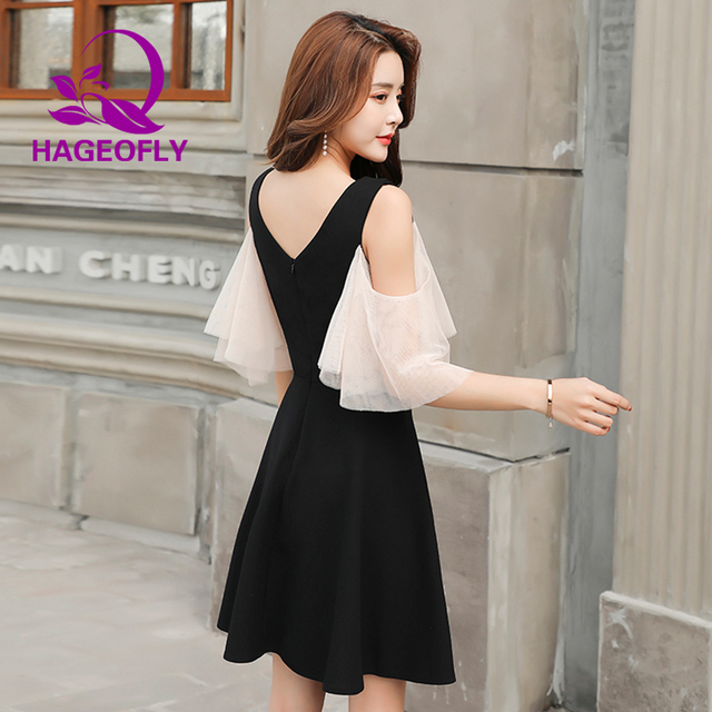 84170d580ef 2019 New Design Korean Mesh High Waist V-neck Causal Dress Slim Hepburn  Black Mini Work Office Ladies Dress Female Summer Cloths