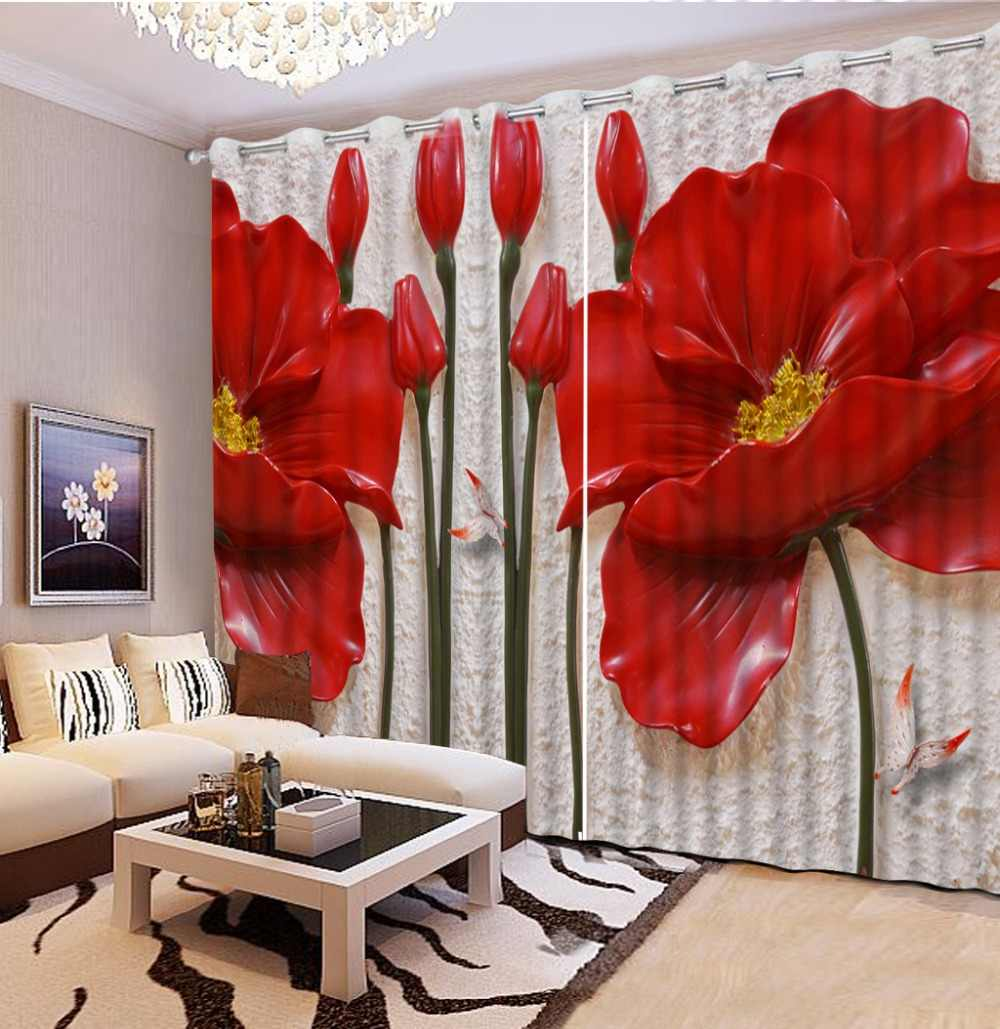 3D Window Curtain red flower Curtains For Bedroom Living Room Polyester/cotton Drapes Cortinas Modern Girls Room Curtains