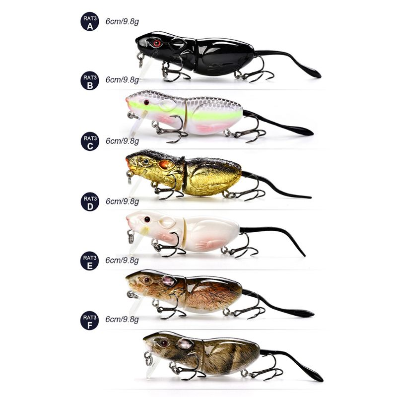 Realistic Multi-Piece Mouse Bait Fishing Lures Bionic Rat Articulated Baits Hard Artificial Lure