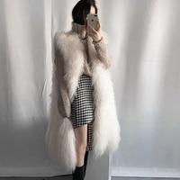 Women Fluffy Long Fur Vest Waistcoats 2018 Elegant Winter Sleeveless Fur Luxury Outerwears Female Fashion Soft Hairy Overcoats