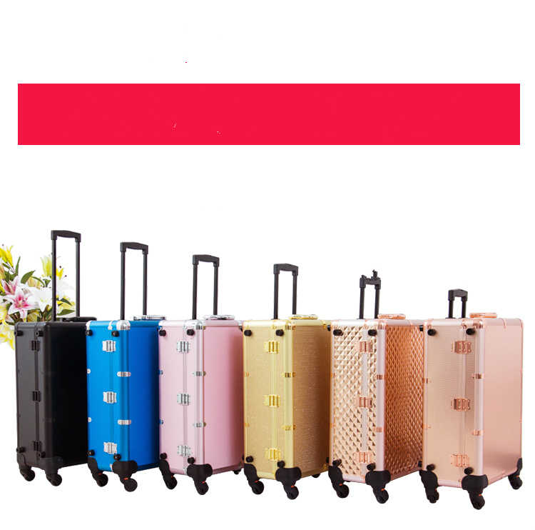 Aluminum Lighted makeup box Professional trolley beauty case with mirror and wheels 2018 New