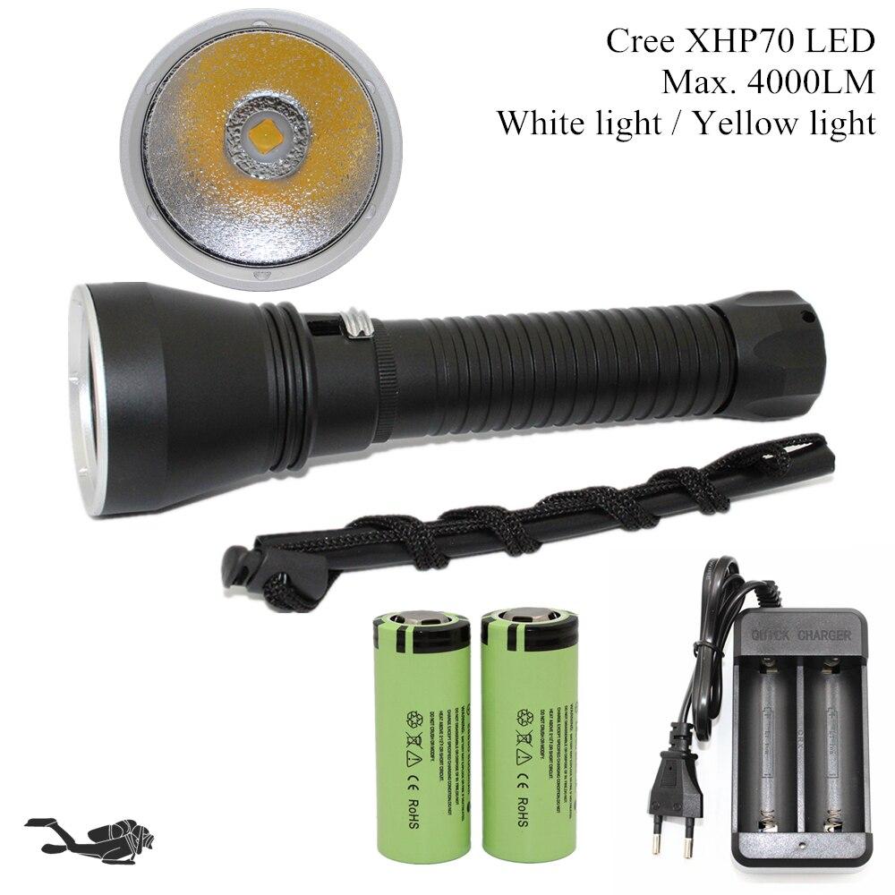 Brillo estupendo Cree XHP70 LED amarillo/luz blanca 4000 lúmenes de buceo linterna táctica 26650 antorcha submarina 100 M impermeable
