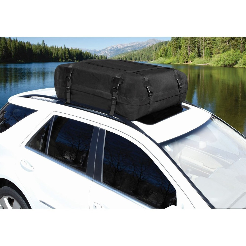 Waterproof Roof Top Carrier Cargo Luggage Oxford Travel Bag For Vehicles With Roof Rails teaegg top roof rack side rails luggage carrier for hyundai tucson ix35 2010 2014