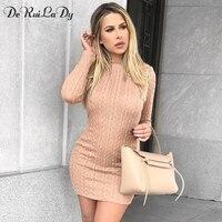 DeRuiLaDy Women Sweater Dress Long Sleeve Autumn Winter Slim Bodycon Pencil Dresses Casual Keep Warm Sweater