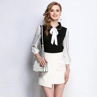 2018 Spring New Fashion Ladies Contrast Color Elegant Shirt Peter Pan Collar Tops Blouse Workwear Plus