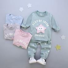 2016 Nouveau mode coton printemps bébé étoiles vêtements ensembles enfants garçons mignon costumes bébés tops + pantalon 2 pcs ensemble infantile fille vêtements