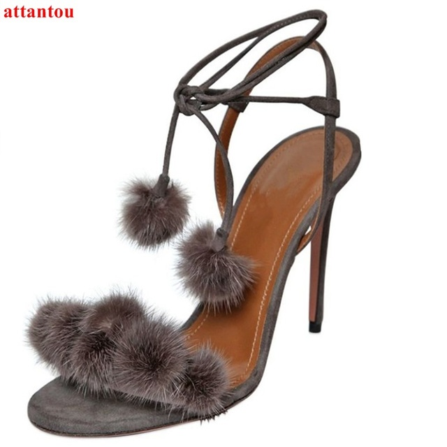 8f93b5eee188 Summer hot sale lace up sandals suede leather cute pompon decor woman high  heels ankle strap female sexy pumps stiletto heels