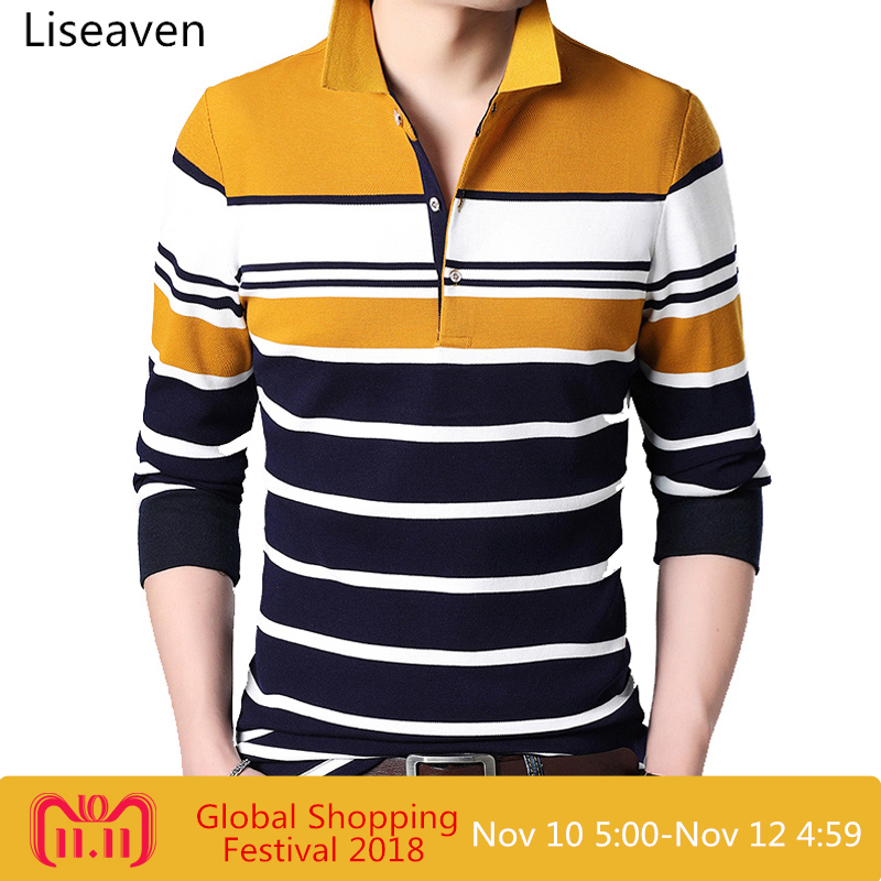 Liseaven Men's   Polo   Shirts Full Sleeve Casual Men's   Polos   Men's Solid Fashion Pullover Shirt Mens Tops
