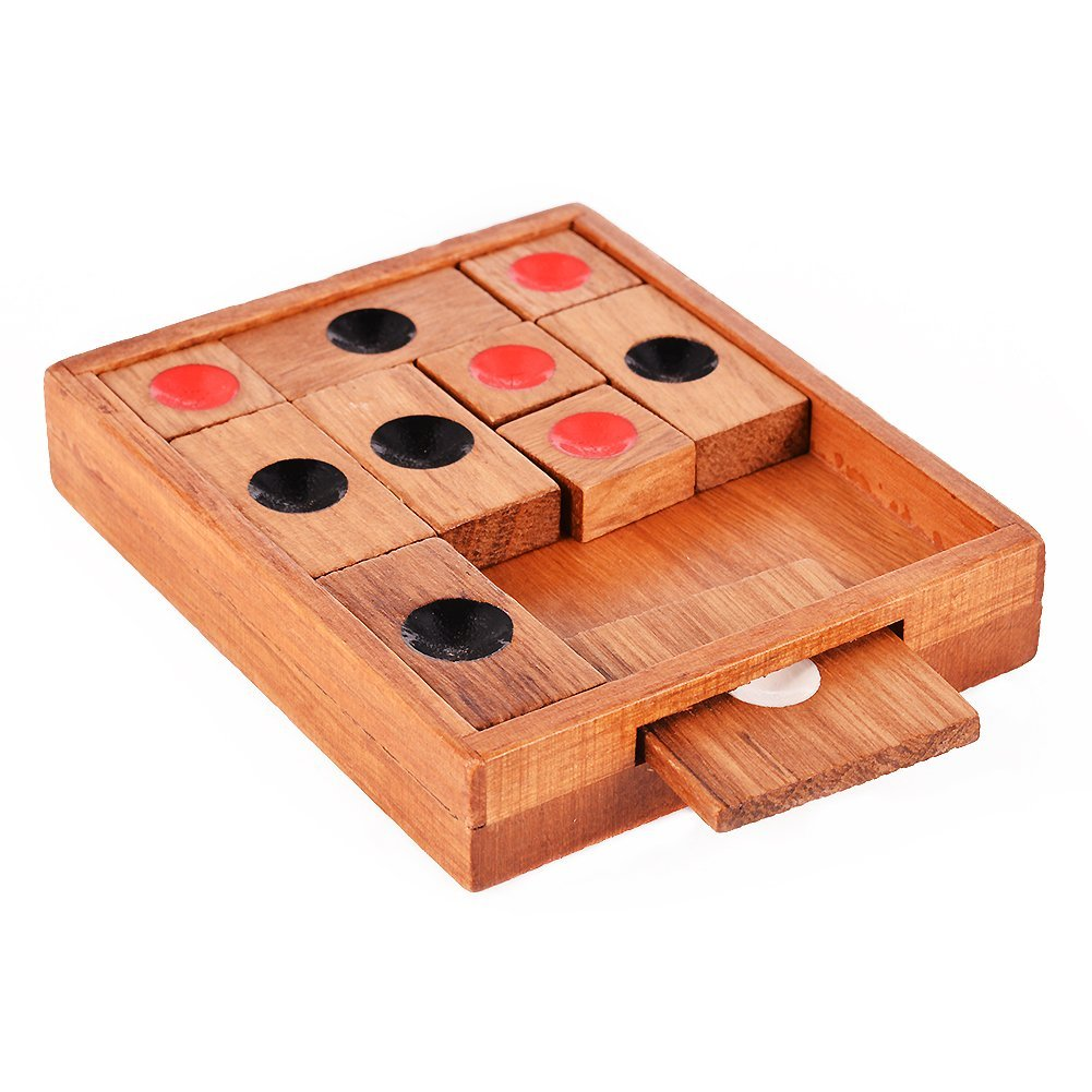 FBIL-Wooden Sliding Block Puzzle.Handmade Wooden Puzzles,A Classic 3d Wooden Brain Teaser with a An Advanced Klotski Puzzle fo