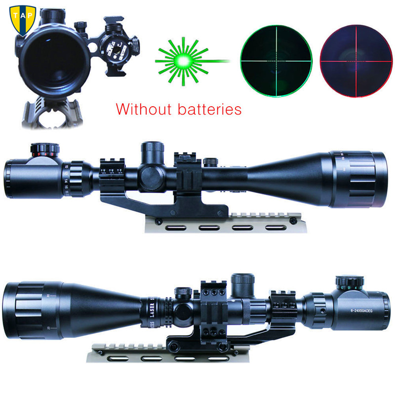 High quality 6-24x50 Hunting Rifle Scope Mil-dot Illuminated Snipe Scope & Green Laser Sight JG1 Airsoft Hunting Rifle Scope air soft weapon gun 3 9x40 hunting rifle scope mil dot illuminated snipe scope