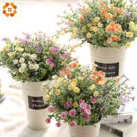 1PC Artificial Flowers Daisy Flower with Green Plants Grass European Floral Plastic Flowers for Home Wedding Table Decoration