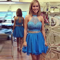 Short Party Dress 2 Piece 2016 Blue Cocktail Dresses With Crystal Homecoming Dresses vestido de festa Custom Made Free Shipping