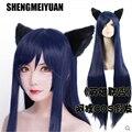 SHENGMEIYUAN League of Legends LOL The Nine-Tailed Fox Ahri 100cm Dark blue cosplay wig free ship