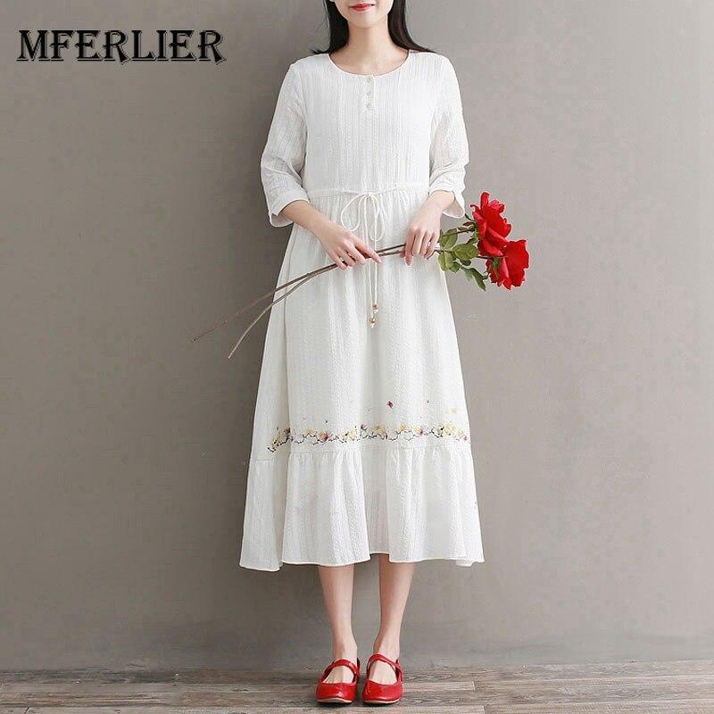 a4c6b00b0e3e Mferlier Mori Girl Summer Elegant White Dress O Neck Lace Up Waist  Embroidery Pleated Hem Artsy