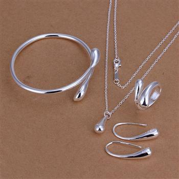 Fashion Wedding Bridal Stamped Silver Water Drop Bracelets + Necklace + Rings + Earrings Sets